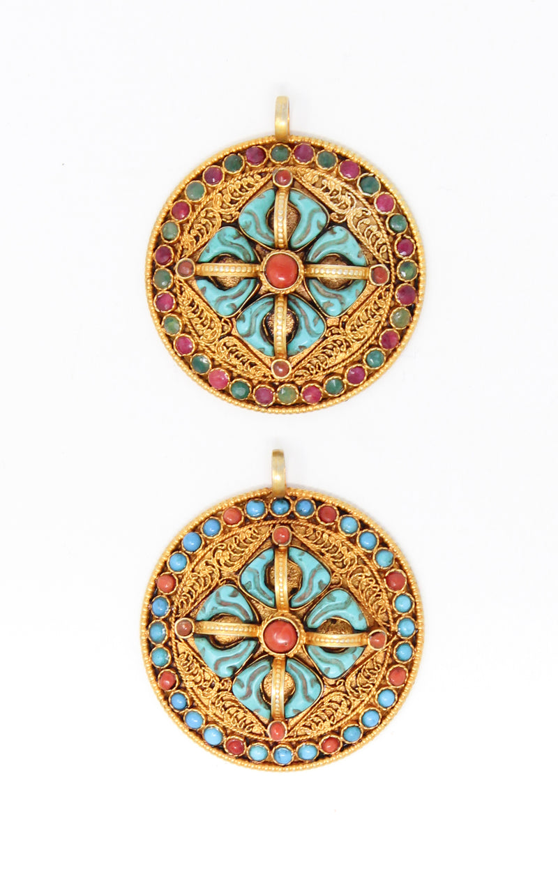 two Circular Gold Double Dorjee Pendant turquoise coral accents
