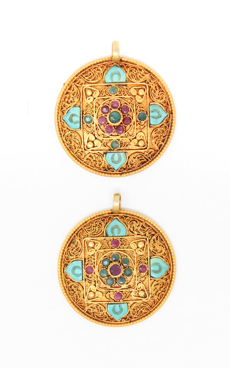 two Circular Unique Gold Mandala Pendant Tibetan handmade jewellery