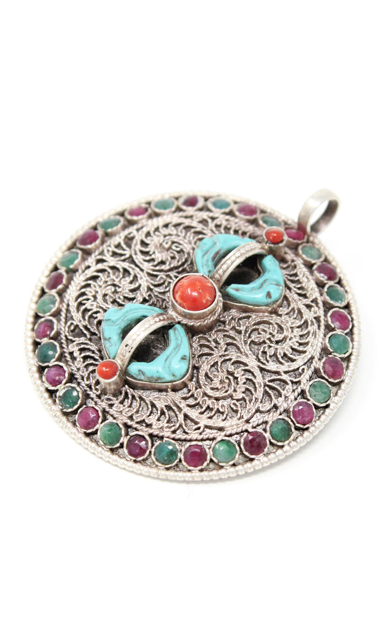 Silver Dorjee Pendant turquoise coral ruby emerald embellishment