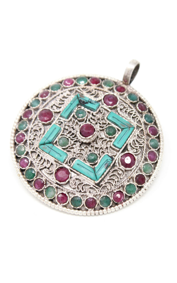 silver with Turquoise ruby emerald accents  Mandala Pendant