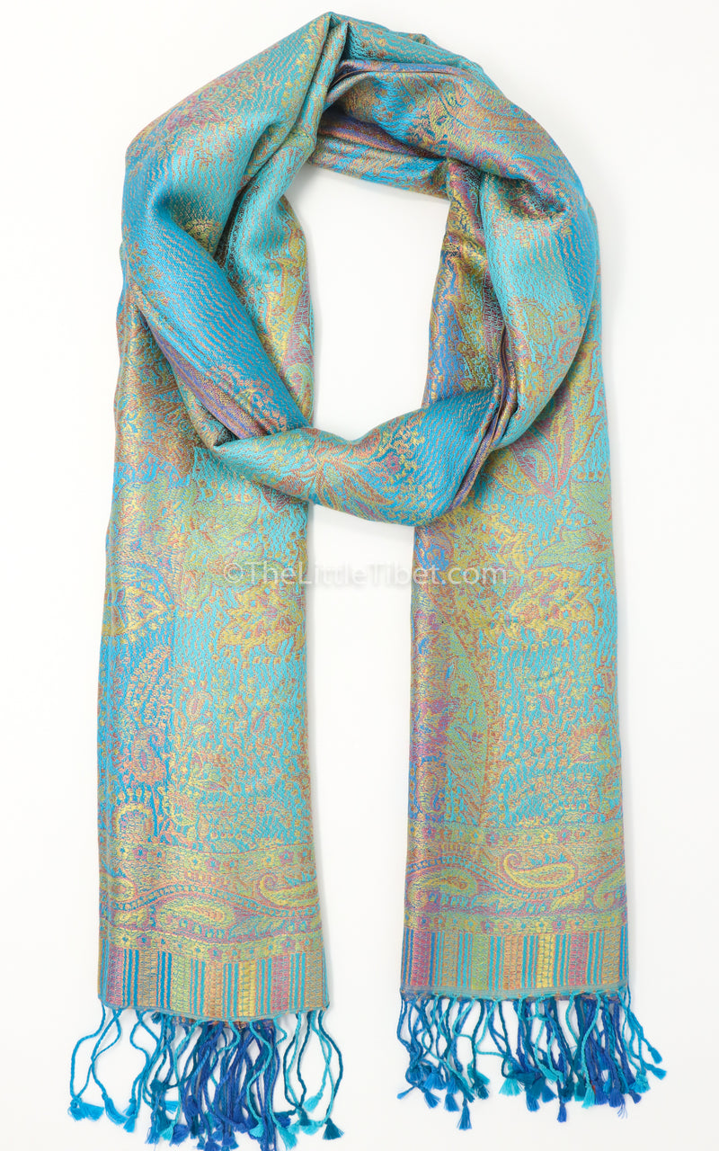 luxurious printed 100% pure silk pashmina shawl