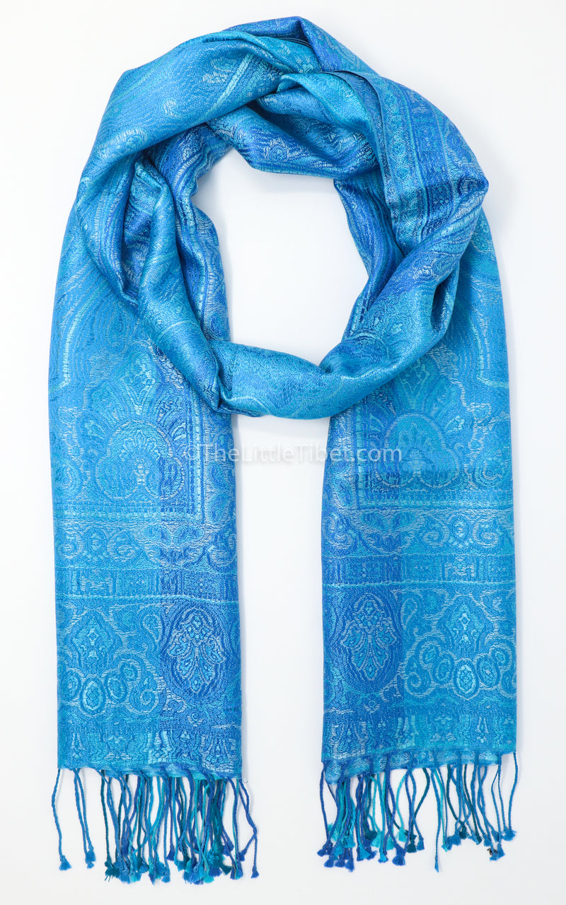 Mountain Sky Blue Silk Pashmina - MCL203