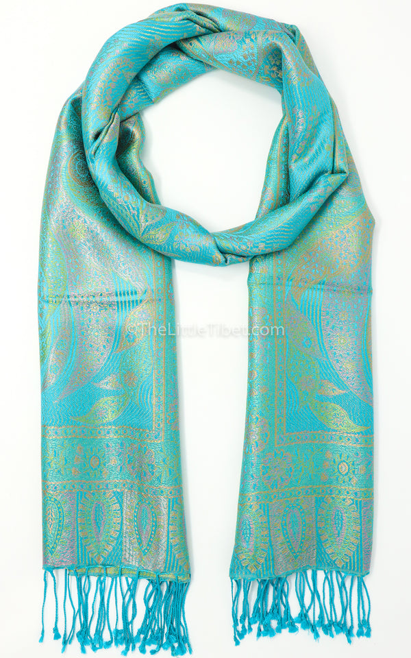 Elegant Floral Garden Green Pure Silk Pashmina with Turquoise Accents and Tassels