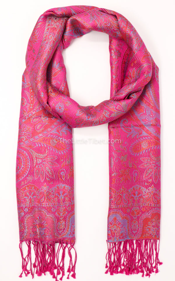 Luxury 100% pure silk bright pink reversible pashmina free uk shipping