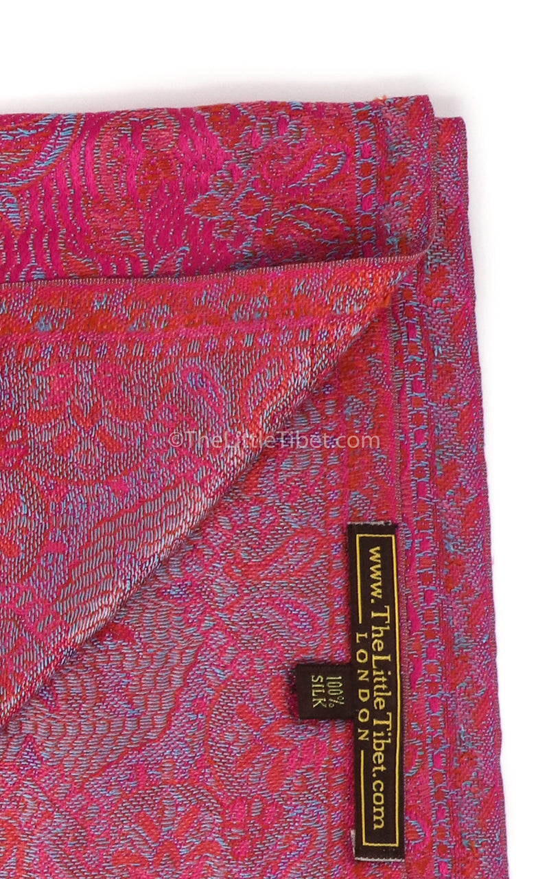 Luxury 100% pure silk bright paisley pink reversible pashmina close up