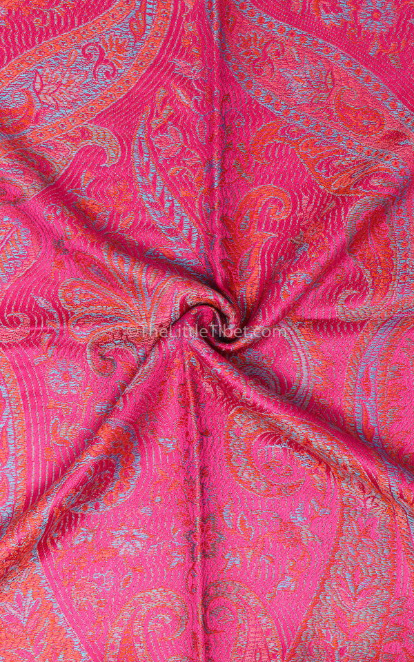 Luxury 100% pure silk bright pink reversible pashmina close up