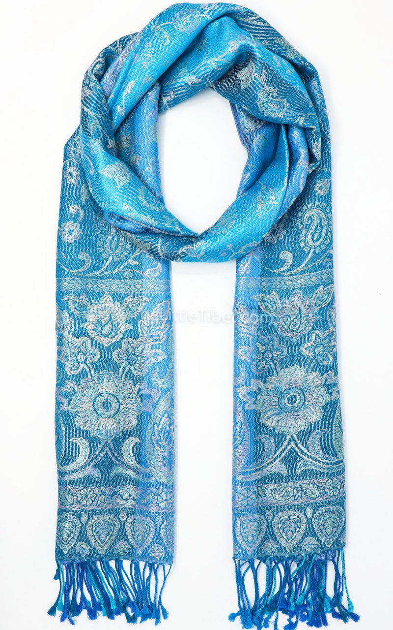 Stylish Reversible Aqua Sea Blue with a Silver Paisley design 100% Silk Pashmina Free Uk Shipping