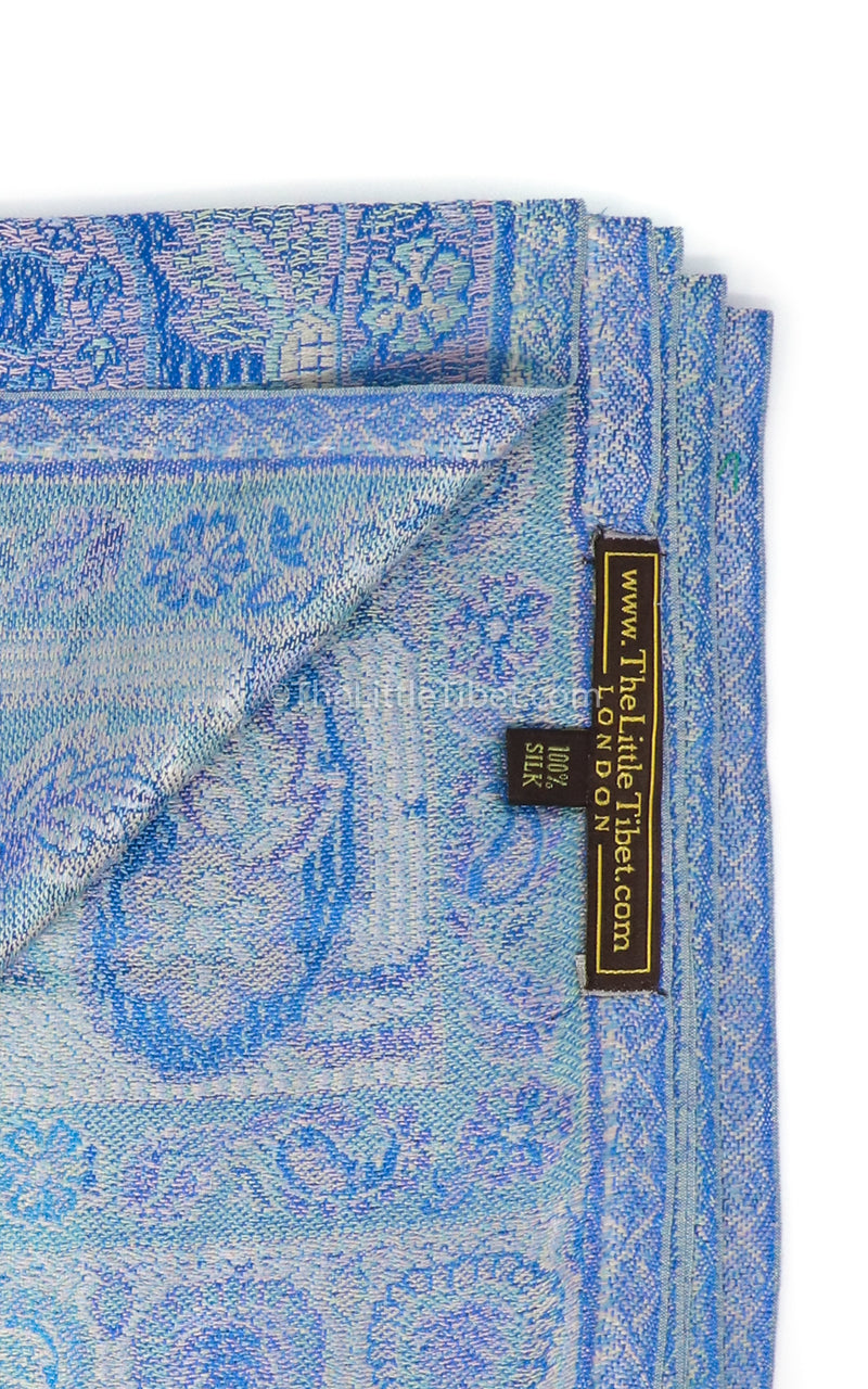 Close up of the Aqua Sea and Sky Blue Luxury silk pashmina opened up