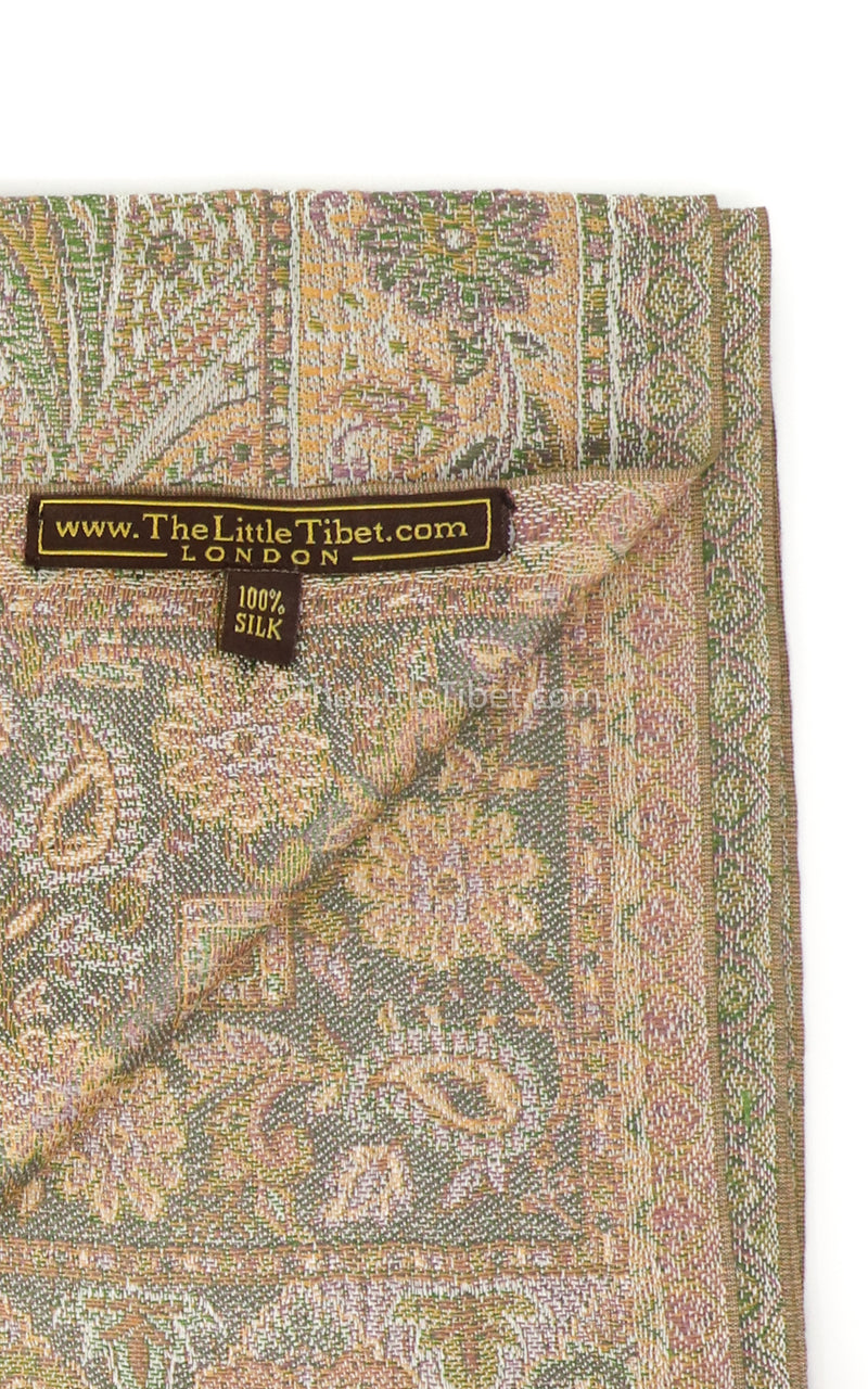 Inside of Creamy beige 100% silk pashmina with paisley detail free uk shipping