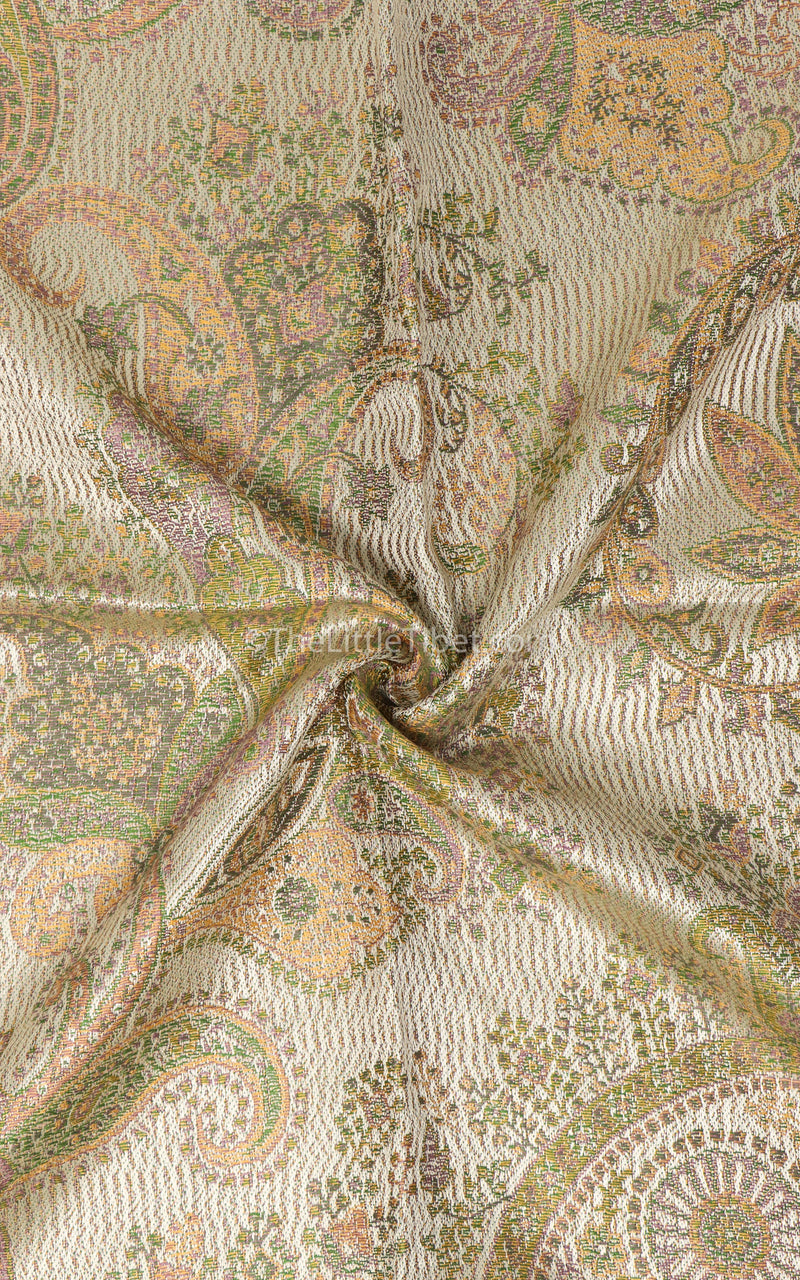 Close up of Creamy beige light reflecting paisley patterned 100% silk pashmina free uk shipping