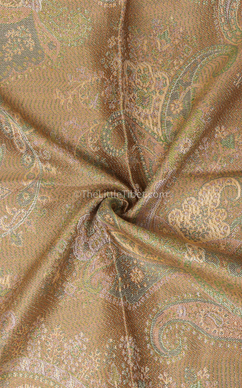 Close up of Creamy beige light reflecting paisley patterned 100% silk pashmina reversible sides