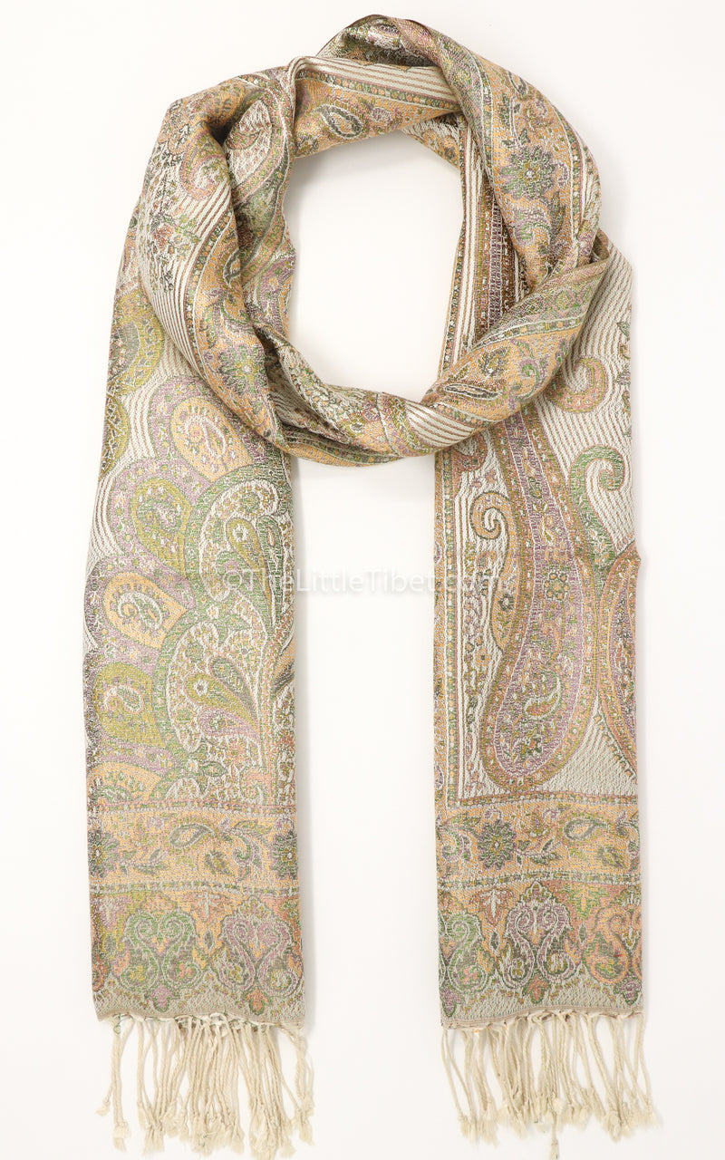 Creamy beige paisley pattern 100% silk pashmina with tassels free uk shipping