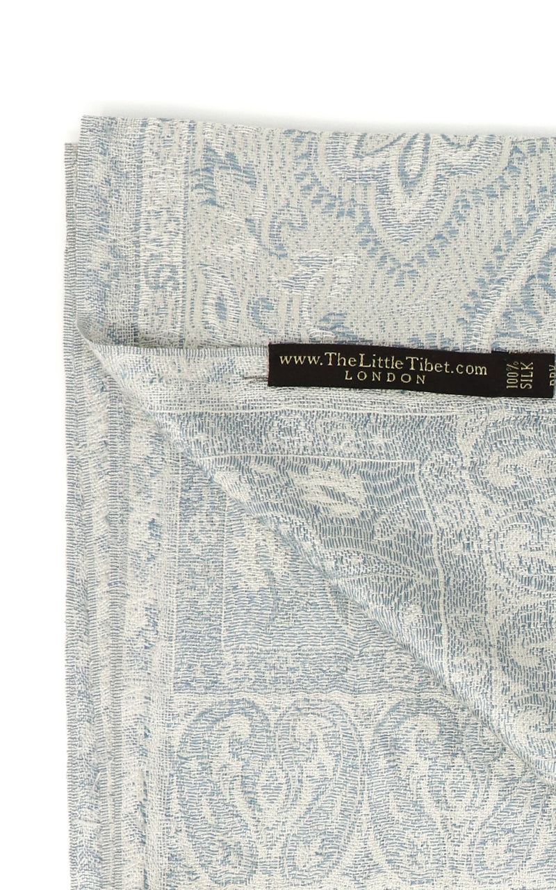 Inside of Shining White 100% silk pashmina with paisley detail free uk shipping