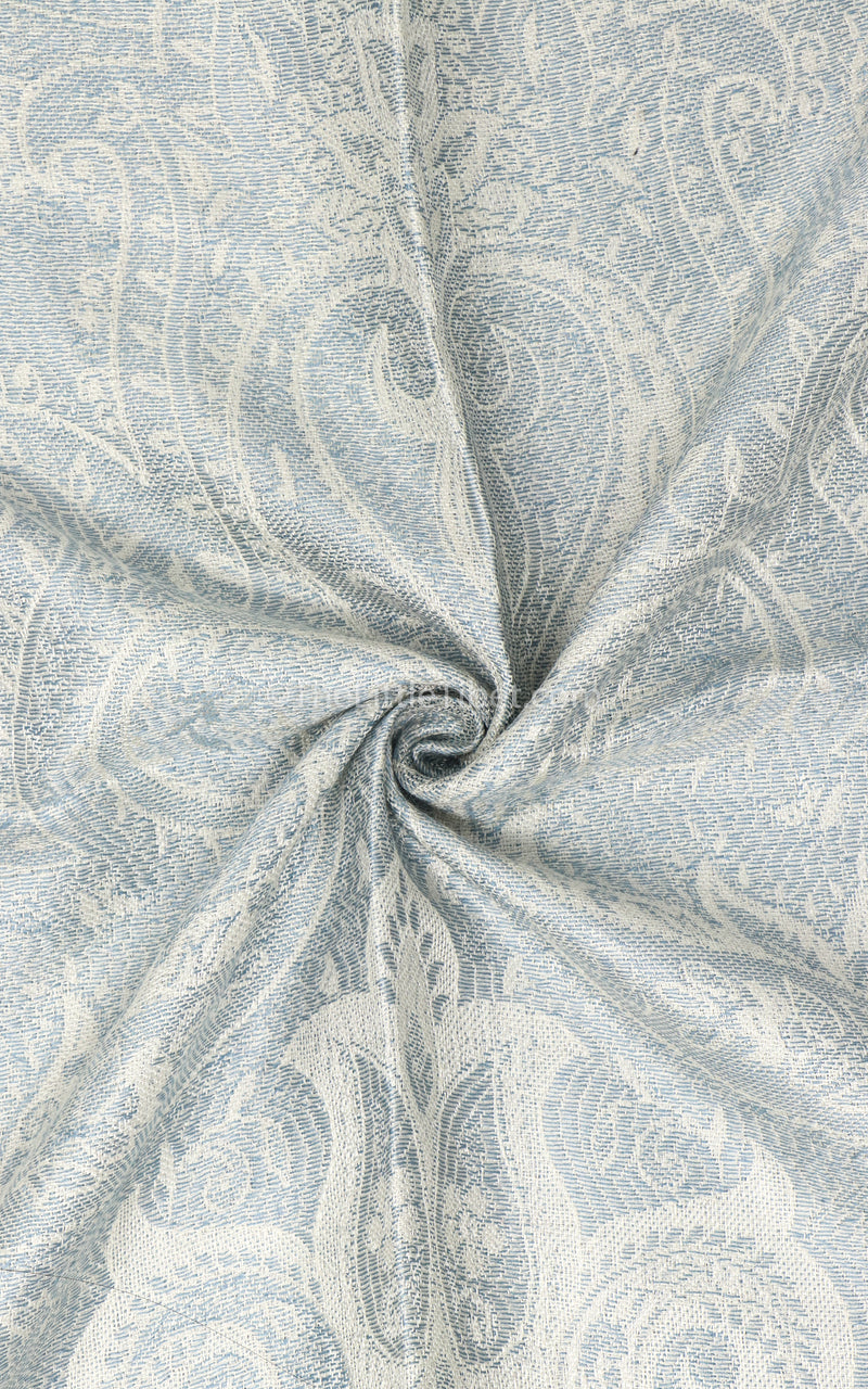 Close up of shining white  luxury  Silk Pashmina with royal paisley  design
