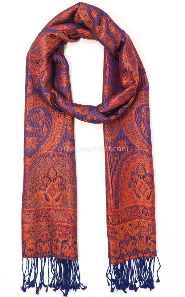 Sanguine Brown with voodoo blue multicolour 100% silk pashmina-MCL303 - The Little Tibet