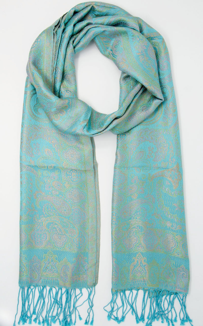 Light turquoise reversible pure silk paisley scarf with tassels