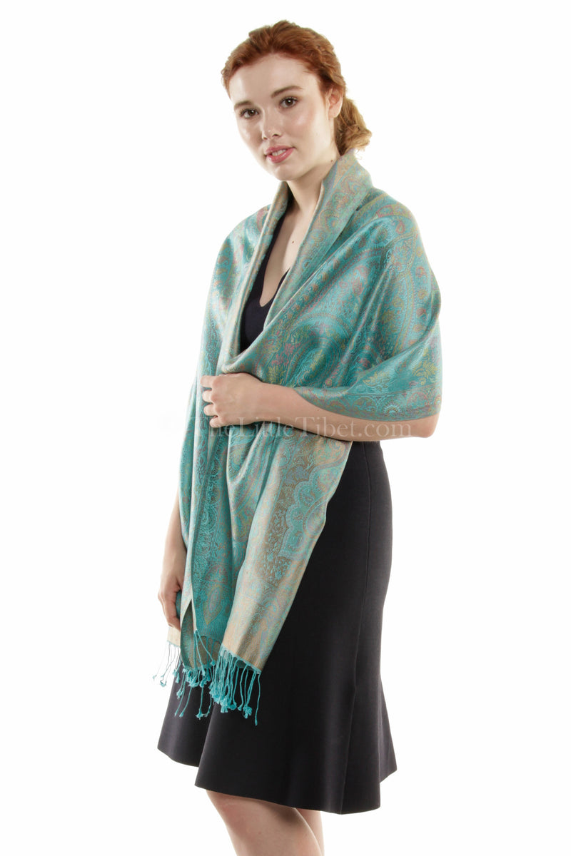Rachel Aqua Silk Scarf - MCM-TEAL 6C - The Little Tibet