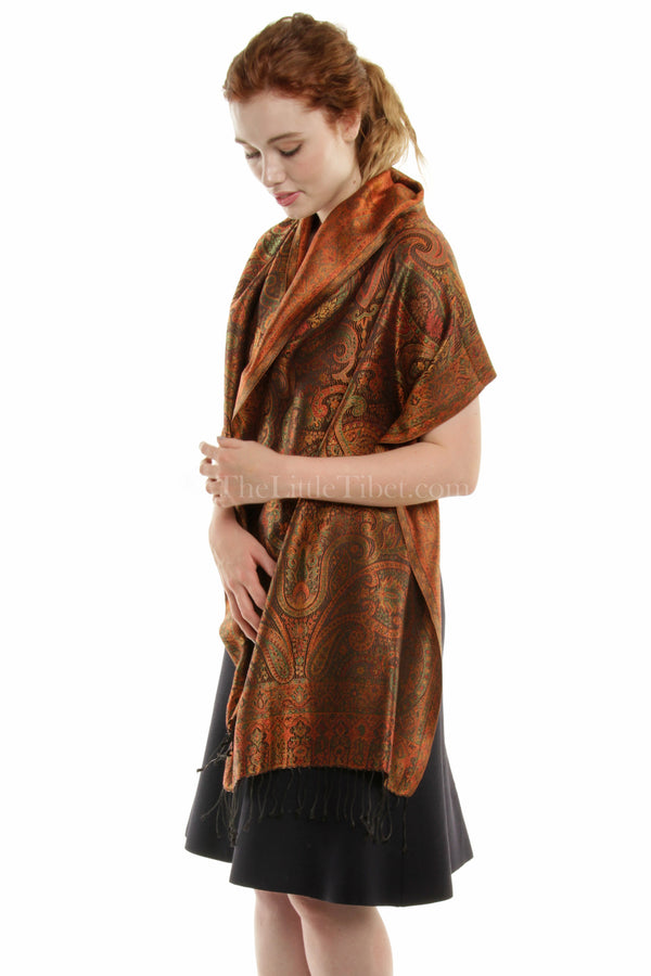Majestic Gold Orange, Silk Pashmina (MCM-GOLD 6C)