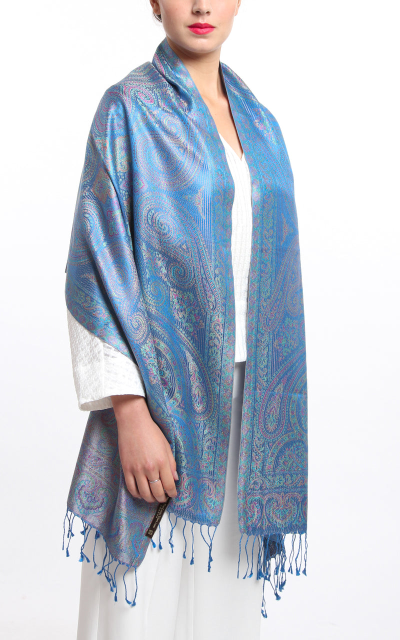 Sky blue 100% silk reversible  pashmina draped around the shoulders free uk shipping