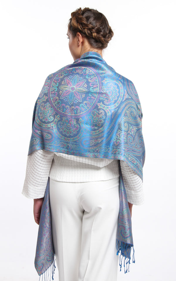 Stylish Sky Blue with Silver Paisley accents and tassels 100% Silk reversible  Pashmina