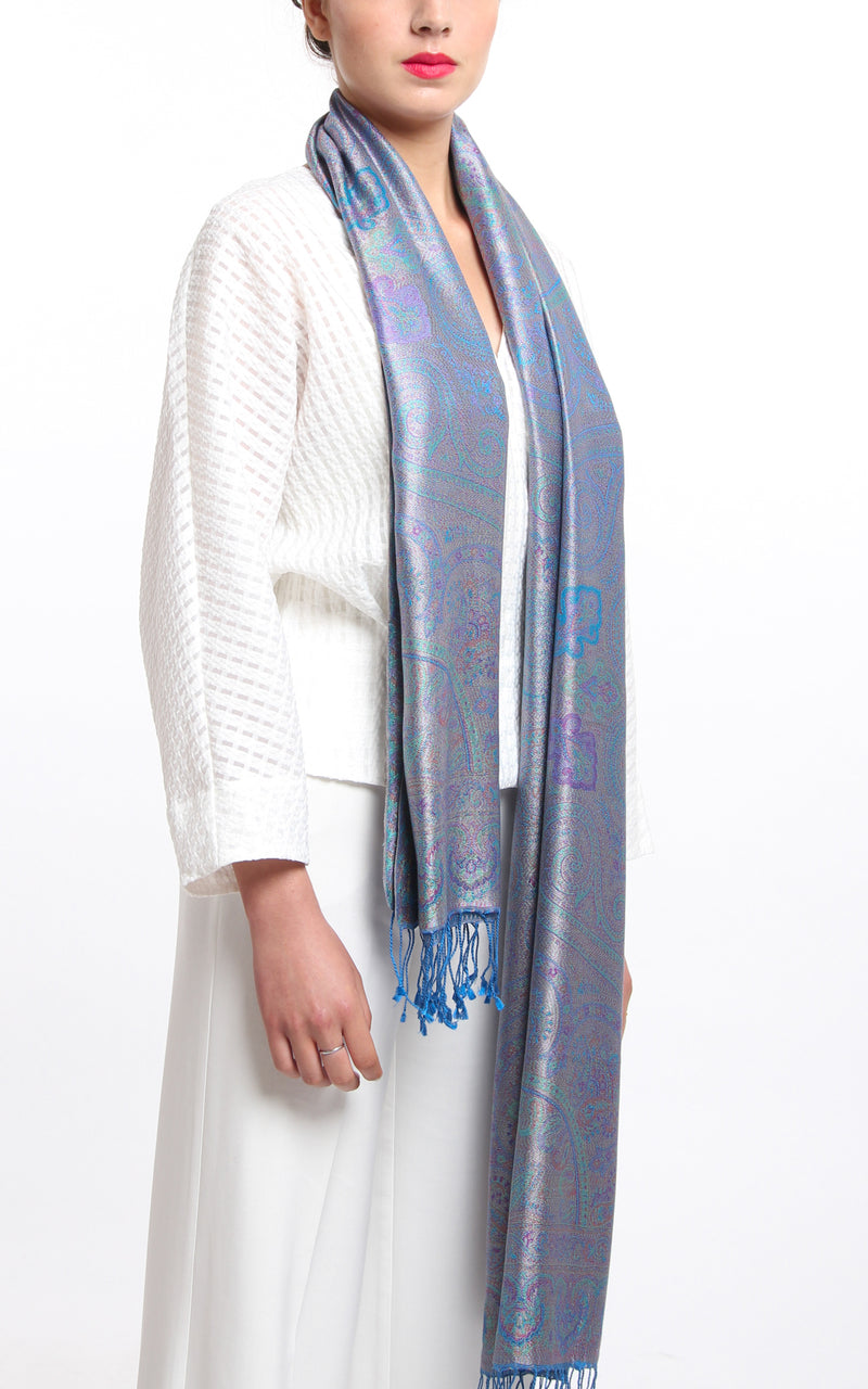 Close up of the sky blue and Silver accented 100% Silk Pashmina Paisley Design Free Uk Shipping