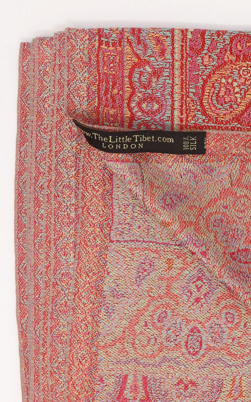 Close up of  inside of the reversible Cherry Red pure Silk Pashmina  Free Uk Shipping