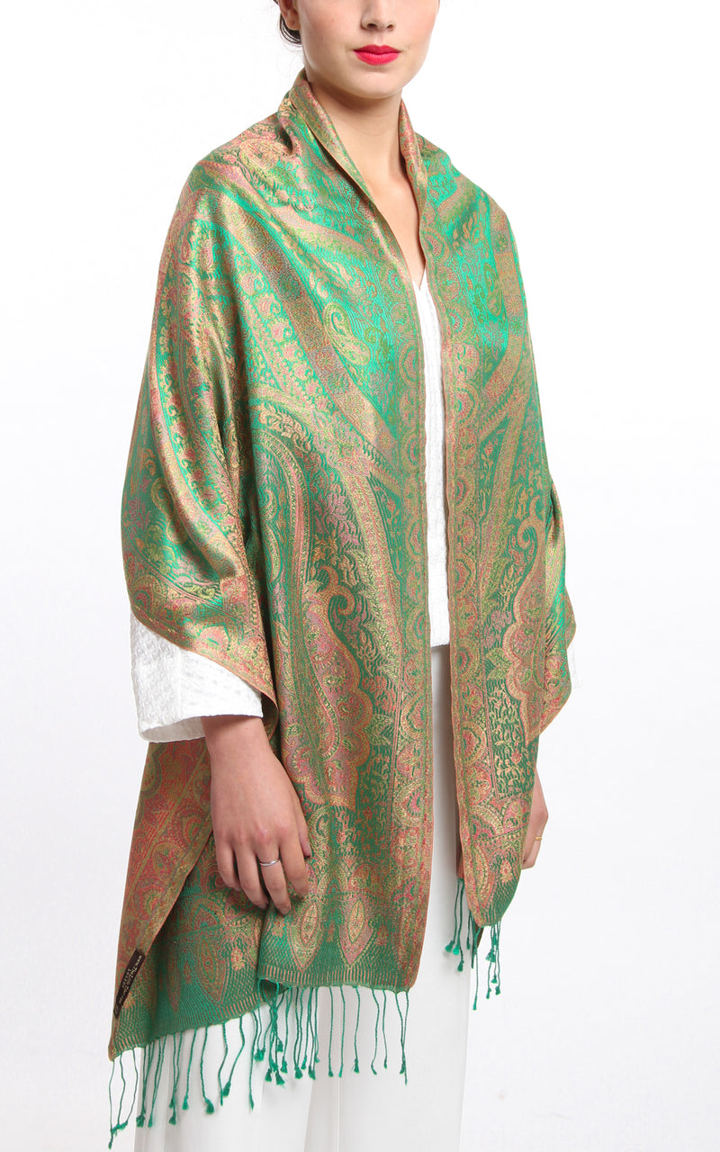 Luxurious Emerald Green and Copper 100% Silk Pashmina Paisley Design draped around the shoulders