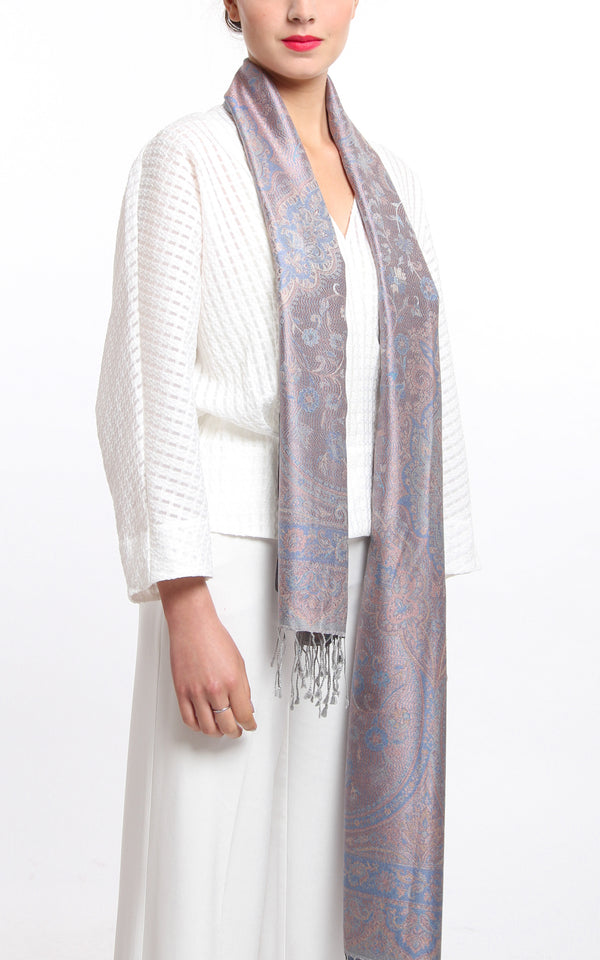 Luxurious light blue and Lilac Silver Pure Silk Pashmina with Paisley Design hanging around the neck