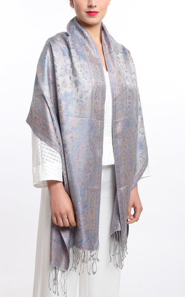 Luxurious light blue and Lilac Silver 100% Silk Pashmina Paisley Design draped around the shoulders