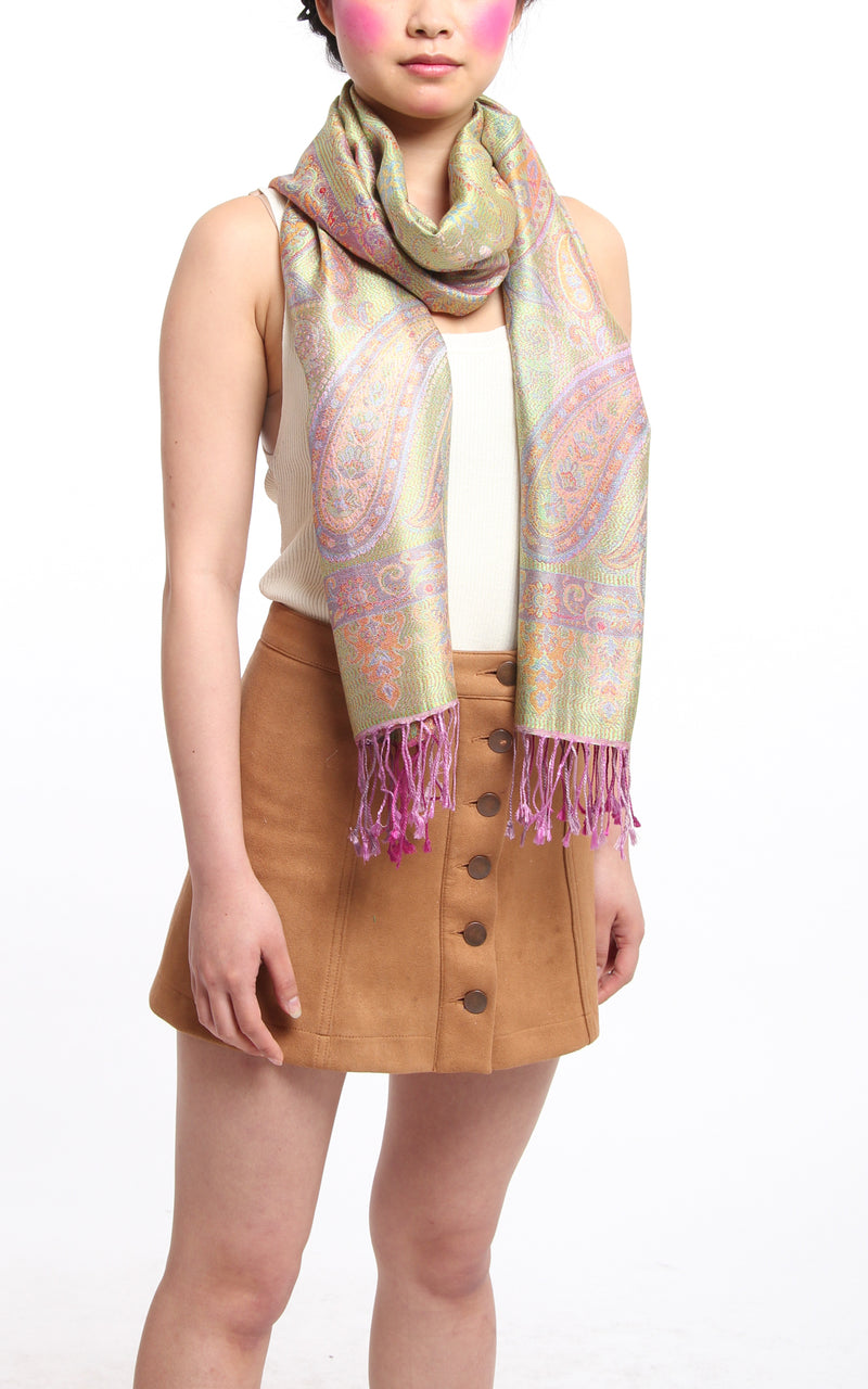 Taffy Pink Silk Scarf - MCM215 - The Little Tibet