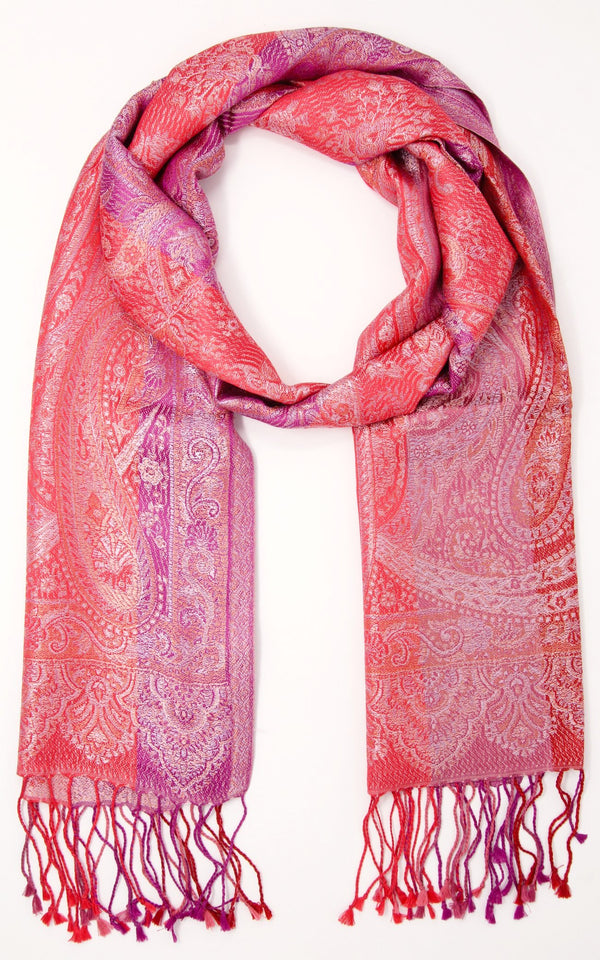 Coral Paisley designed 100% pure silk pashmina with tassels and red pink accents
