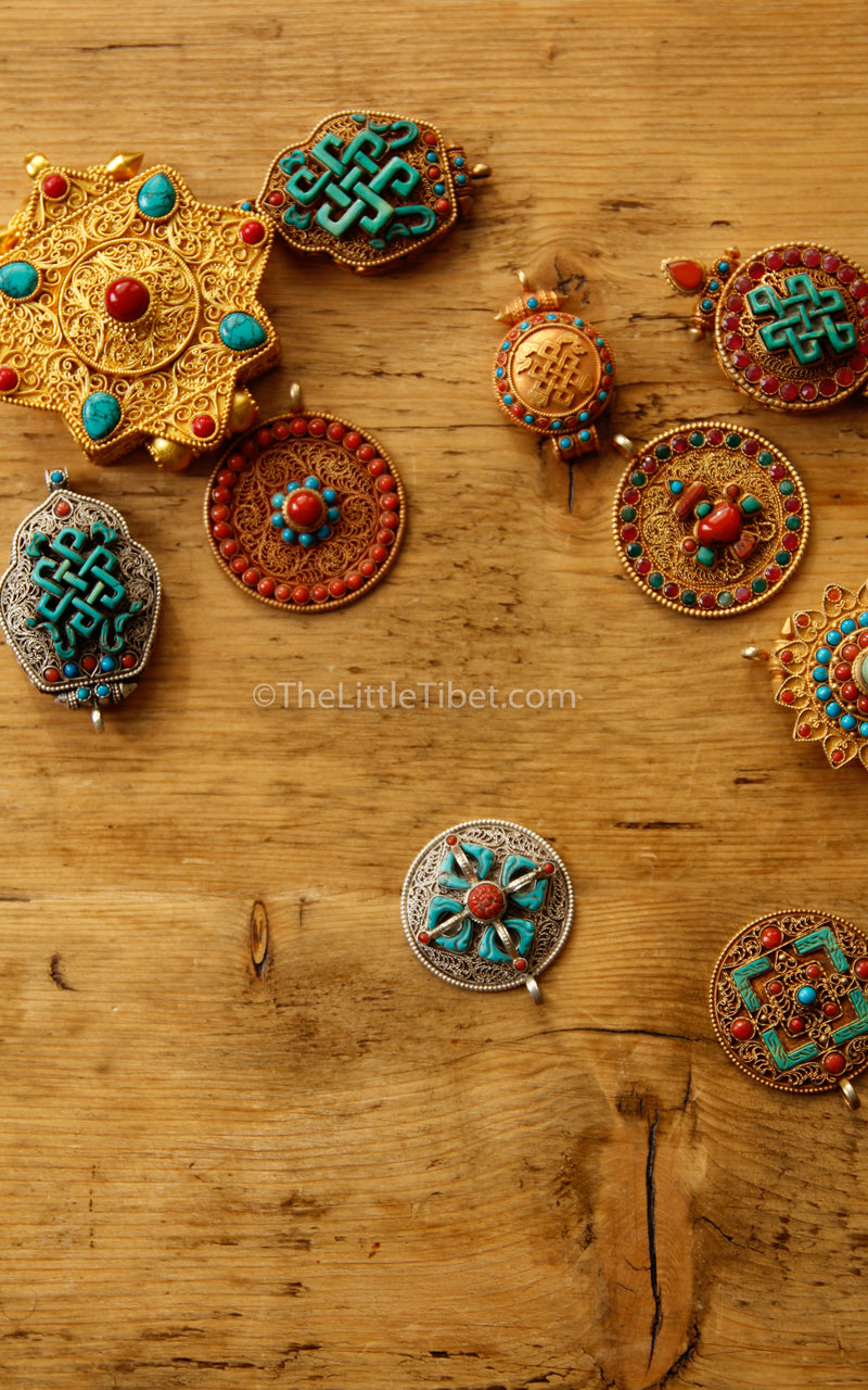 Gold two Plated Sunflower handmade floral Pendant coral turquoise detail