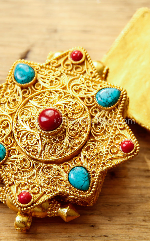 Gold Gawo handmade Locket Pendant red coral turquoise stones