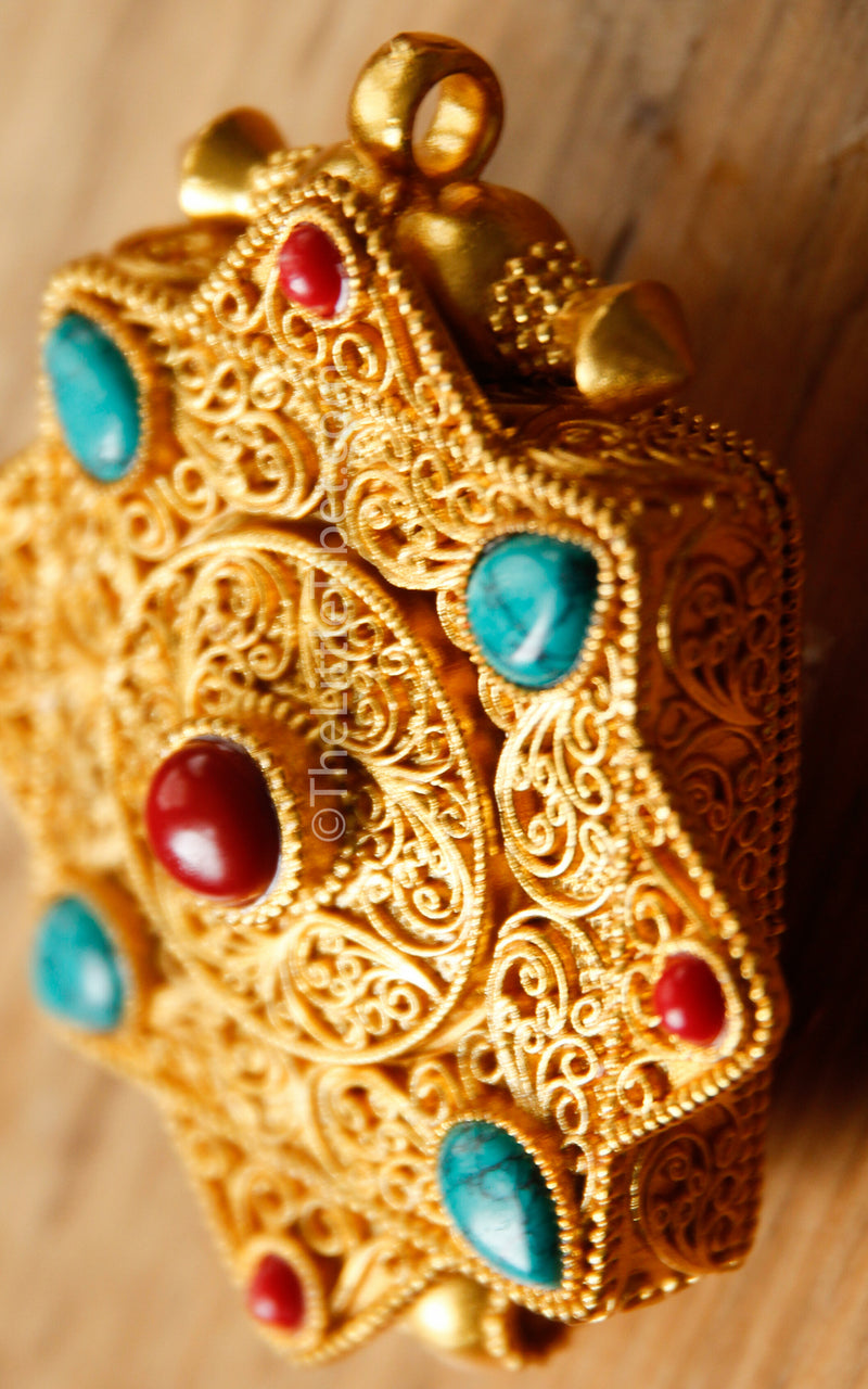 Gold Gawo handmade Locket Pendant coral turquoise gems close up