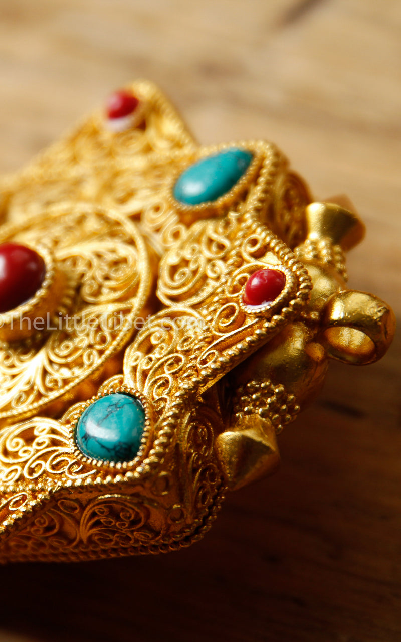 Gold Gawo handmade Locket Pendant coral turquoise stones side view
