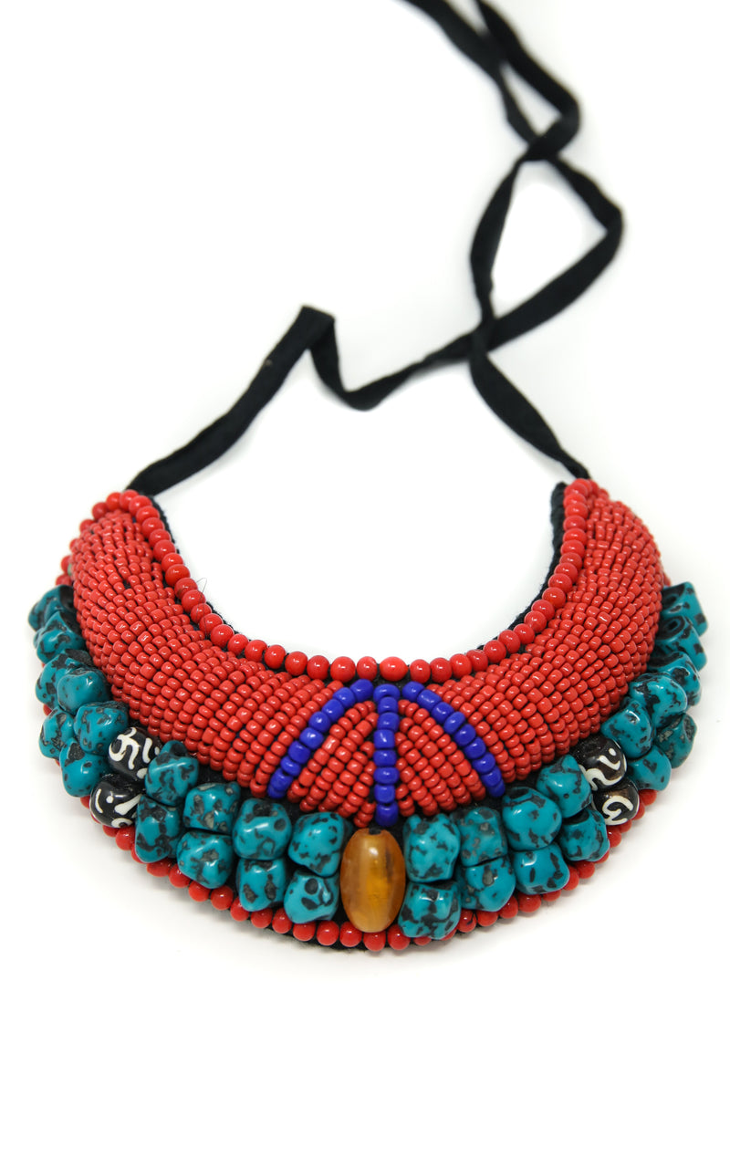 Amber Beaded Tibetan Neckpiece, The Little Tibet
