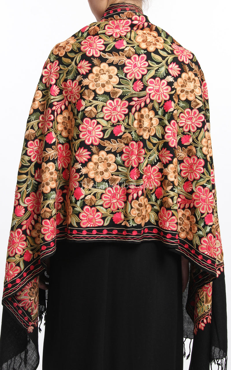 Black pink red florals paisley Woollen Kashmiri Shawl 100% pure wool free uk shipping