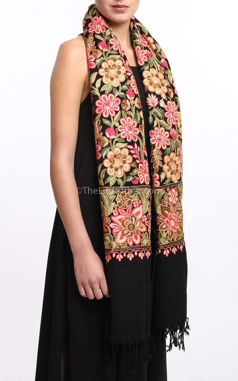 Black pink red florals paisley Woollen Kashmiri Shawl 100% pure wool with tassels