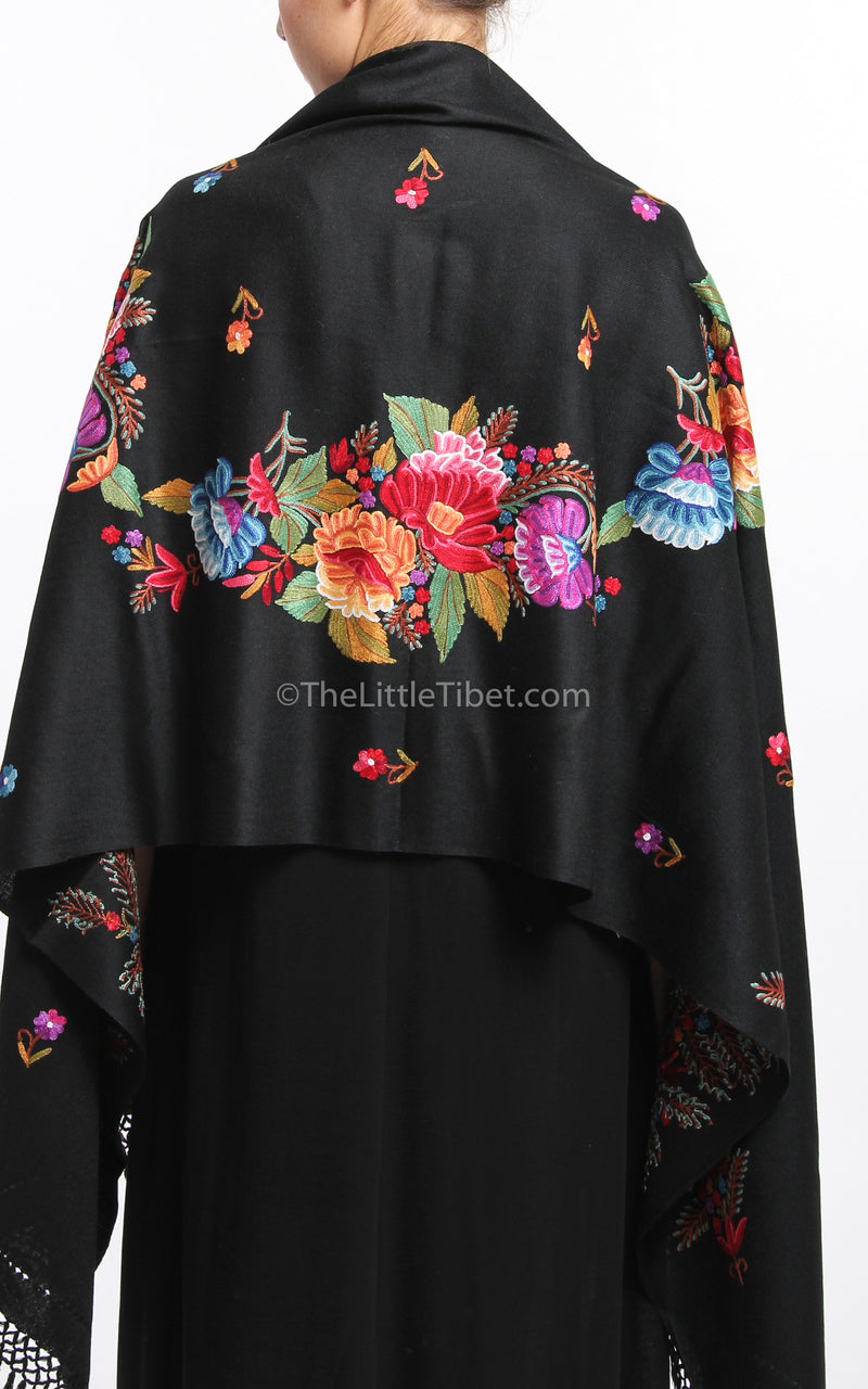 black  pink red floral accents embroidery Woollen Kashmiri Shawl 100% pure wool close up