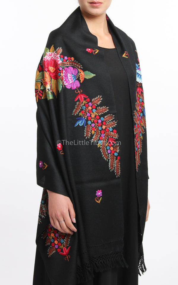 black  pink red floral accents embroidery Woollen Kashmiri Shawl 100% pure wool