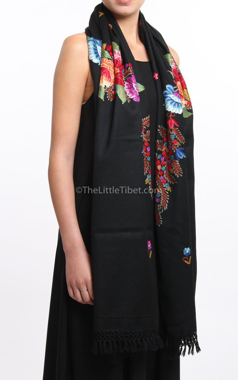 black  pink red floral accents  Woollen Kashmiri Shawl 100% pure wool draped around shoulders