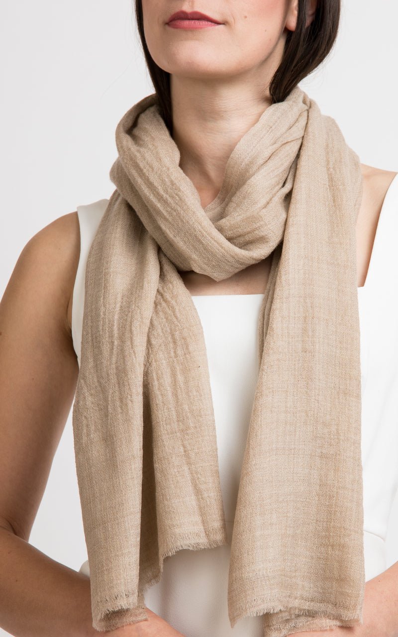 Diamond design fine beige cashmere scarf -RP10, The Little Tibet