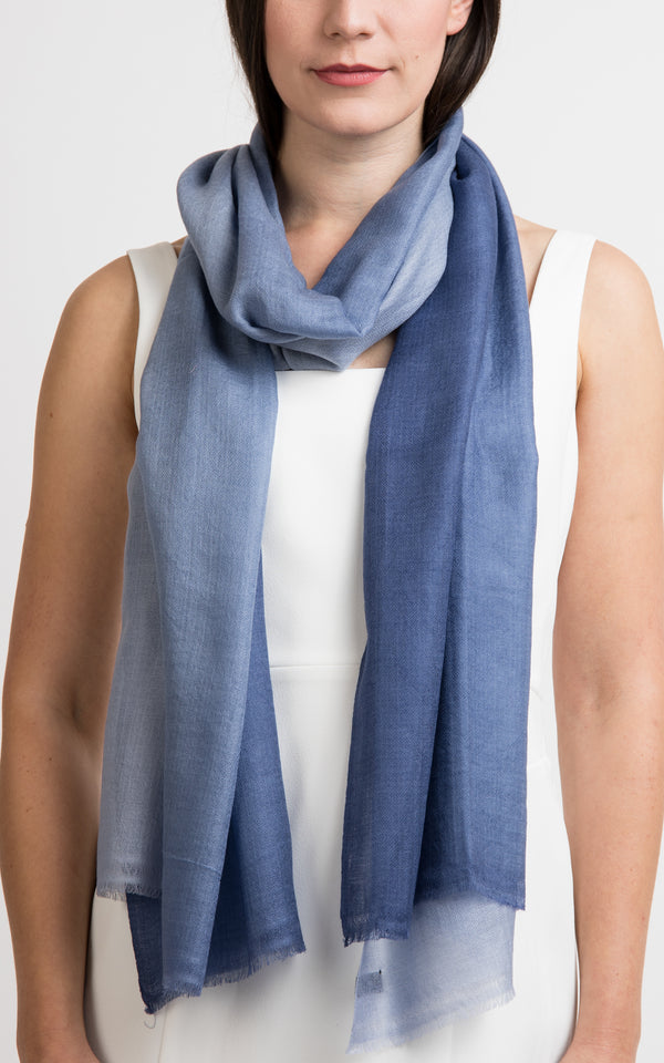 Ombre design dark light grey fine cashmere scarf - RP14, The Little Tibet