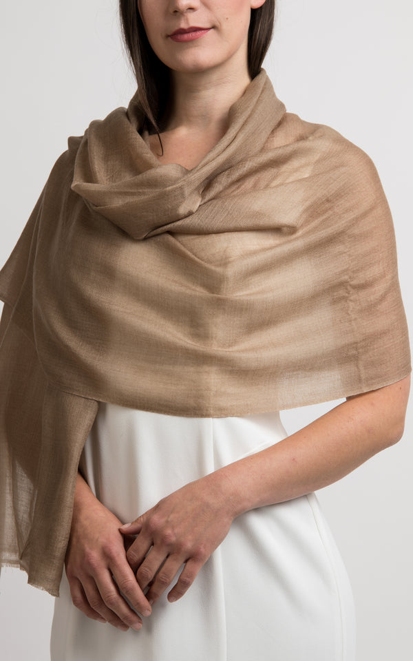 Diamond design golden beige fine cashmere scarf -RP2, The Little Tibet