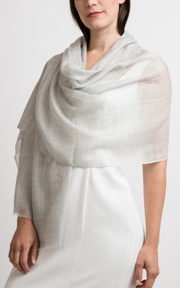 Diamond design fine pale grey cashmere scarf -RP3, The Little Tibet
