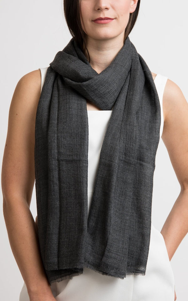 Diamond design fine charcoal grey cashmere scarf -RP4, The Little Tibet