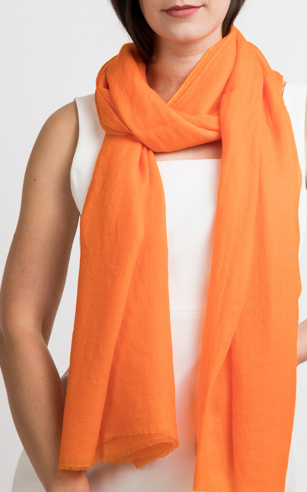 Diamond orange fine cashmere scarf -RP6, The Little Tibet