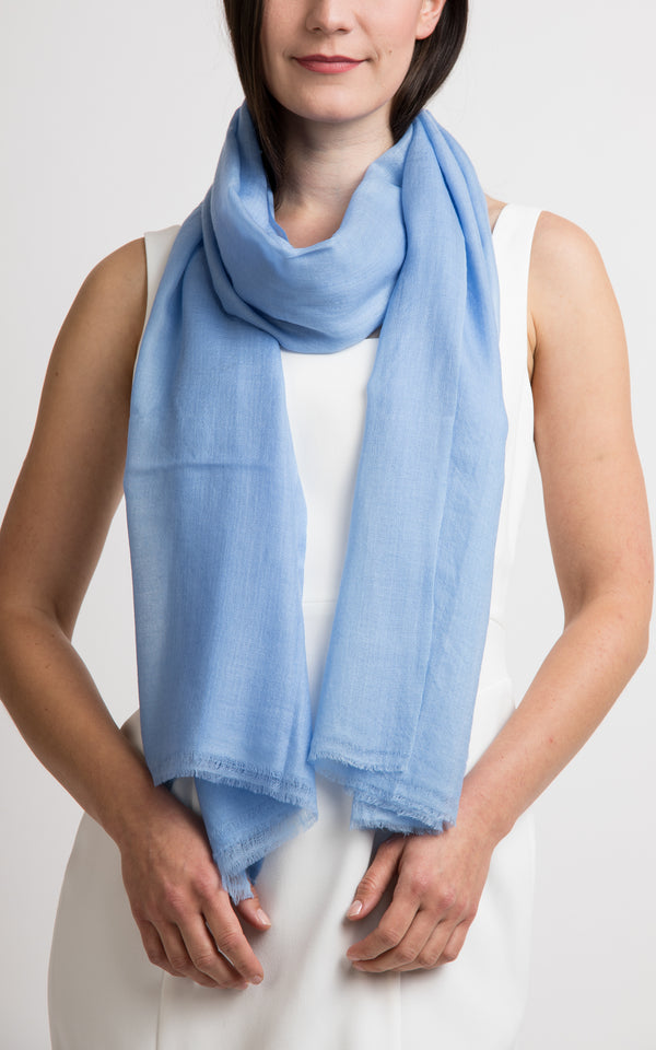 Diamond design fine sky blue cashmere scarf -RP8, The Little Tibet