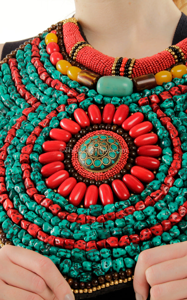 extra large coral turquoise hand made Beaded Tibetan Necklace jewellery close up