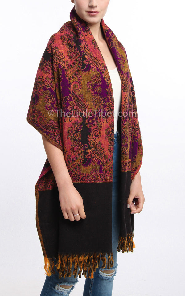 Multi-coloured pink paisley designed blanket scarf tibet shawl with tassels